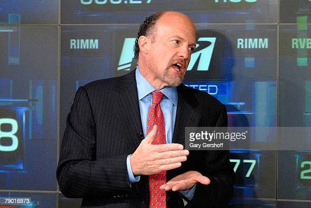 V host Jim Cramer after ringing the opening bell at NASDAQ on January 16 2008 in New York City