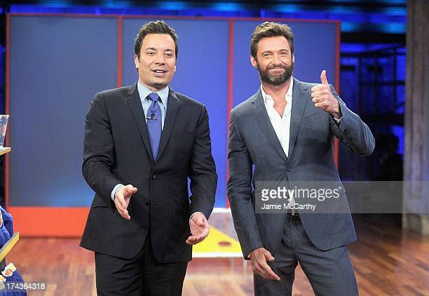 Host Jimmy Fallon and Hugh Jackman visit Late Night With Jimmy Fallon at Rockefeller Center on July 24 2013 in New York City