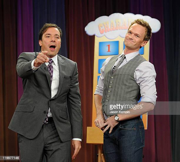 Host Jimmy Fallon and Neil Patrick Harris visit Late Night With Jimmy Fallon at Rockefeller Center on July 27 2011 in New York City