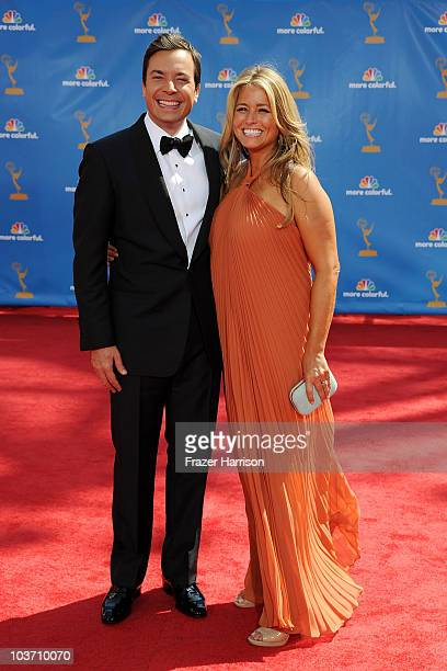 Host Jimmy Fallon and producer Nancy Juvonen arrive at the 62nd Annual Primetime Emmy Awards held at the Nokia Theatre LA Live on August 29 2010 in...