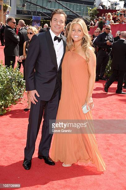 Host Jimmy Fallon and producer Nancy Juvonen arrives at the 62nd Annual Primetime Emmy Awards held at the Nokia Theatre L.A. Live on August 29, 2010...