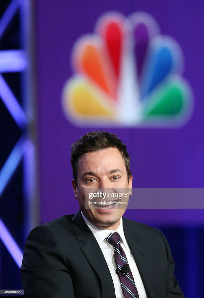 Host Jimmy Fallon of the television show 'The Tonight Show Starring Jimmy Fallon' speaks during the NBC portion of the 2014 Television Critics Association Press Tour at the Langham Hotel on January 19, 2014 in Pasadena, California.