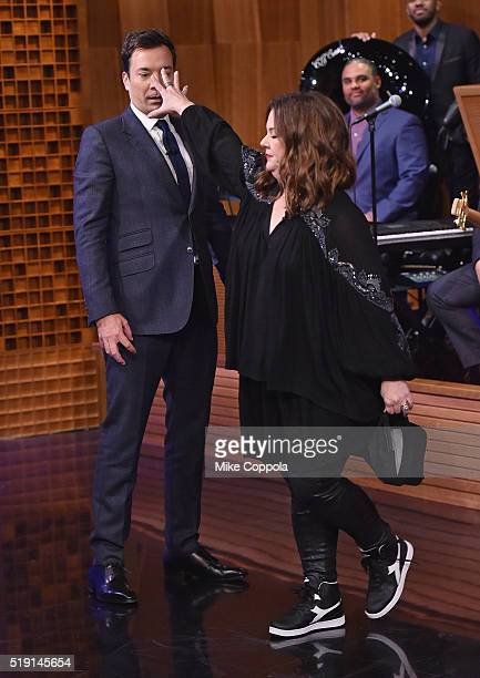 Host Jimmy Fallon performs in a lip sync contest against actress/comedian Melissa McCarthy during her visit to 'The Tonight Show Starring Jimmy...