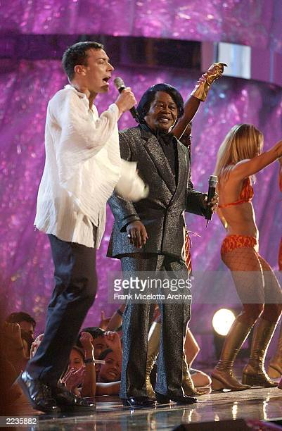 Host Jimmy Fallon performs with James Brown at the 2002 MTV Video Music Awards at Radio City Music Hall in New York City August 29 2002 Photo by...