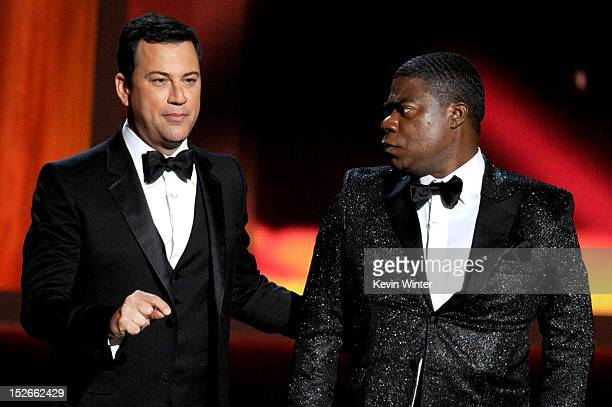 Host Jimmy Kimmel and actor Tracy Morgan onstage during the 64th Annual Primetime Emmy Awards at Nokia Theatre LA Live on September 23 2012 in Los...