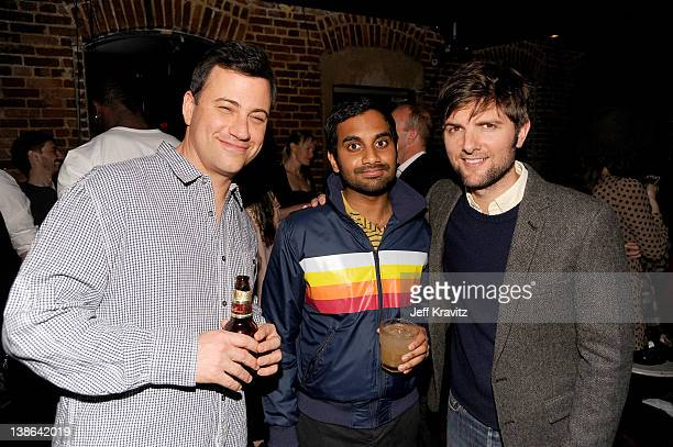 TV host Jimmy Kimmel and actors Aziz Ansari and Adam Scott attend HBO's Season 3 Premiere Of 'Eastbound And Down' After Party at Room 86 on February...