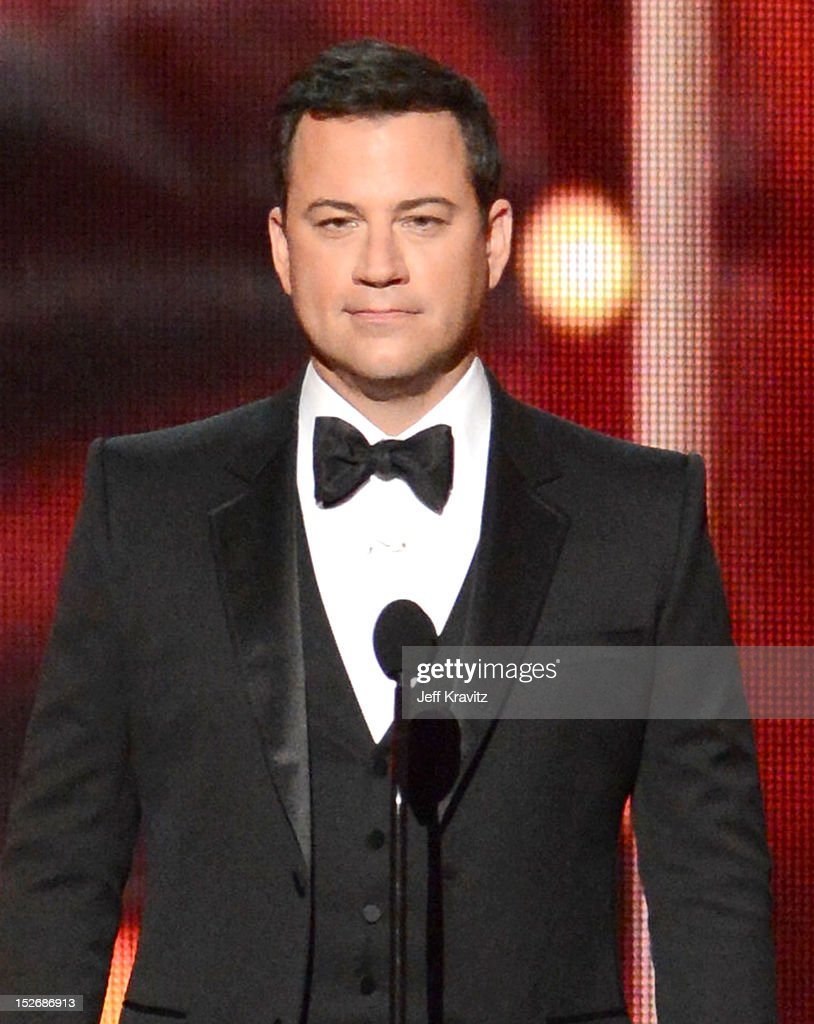 Host Jimmy Kimmel onstage during the 64th Primetime Emmy Awards at Nokia Theatre L.A. Live on September 23, 2012 in Los Angeles, California.