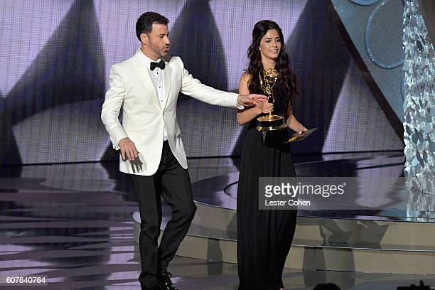 Host Jimmy Kimmel performs onstage during the 68th Annual Primetime Emmy Awards at Microsoft Theater on September 18 2016 in Los Angeles California