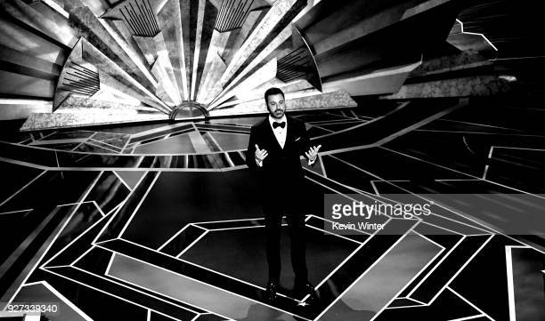 Host Jimmy Kimmel says goodnight onstage during the 90th Annual Academy Awards at the Dolby Theatre at Hollywood Highland Center on March 4 2018 in...