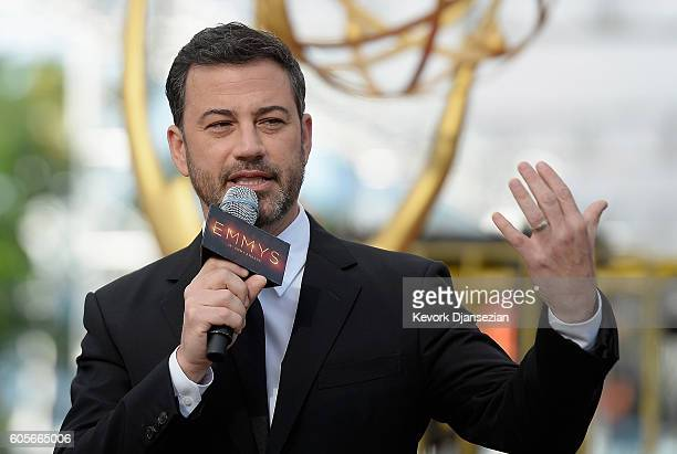 Host Jimmy Kimmel speaks during the red carpet rollout for the 68th Emmy Awards press preview day at Microsoft Theater on September 14 2016 in Los...