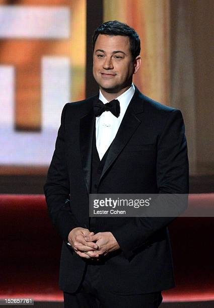 Host Jimmy Kimmel speaks onstage at the 64th Primetime Emmy Awards at Nokia Theatre LA Live on September 23 2012 in Los Angeles California