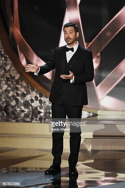 Host Jimmy Kimmel speaks onstage during the 68th Annual Primetime Emmy Awards at Microsoft Theater on September 18 2016 in Los Angeles California