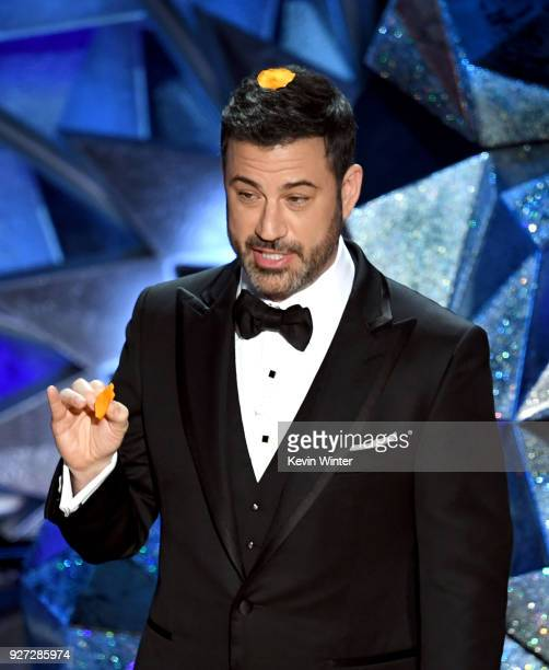 Host Jimmy Kimmel speaks onstage during the 90th Annual Academy Awards at the Dolby Theatre at Hollywood Highland Center on March 4 2018 in Hollywood...