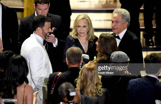 Host Jimmy Kimmel with actor Faye Dunaway and actor/director Warren Beatty after presenting Best Picture onstage during the 90th Annual Academy...