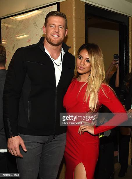 Host JJ Watt and DinahJane Hansen of Fifth Harmony attends the 2016 CMT Music awards at the Bridgestone Arena on June 8 2016 in Nashville Tennessee