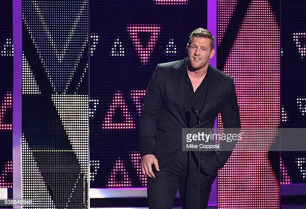 Host JJ Watt onstage during the 2016 CMT Music awards at the Bridgestone Arena on June 8 2016 in Nashville Tennessee