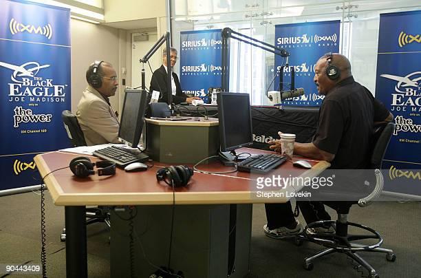 Host Joe Madison interviews football legend Jim Brown at the SIRIUS XM Studios on September 8 2009 in New York City