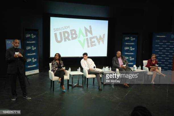 Host Joe Madison Laura Coates Tarik S Khan Bryan Monroe and Jean Strout Jean Strout attend the SiriusXM's America In Crisis Handling Election Angst...