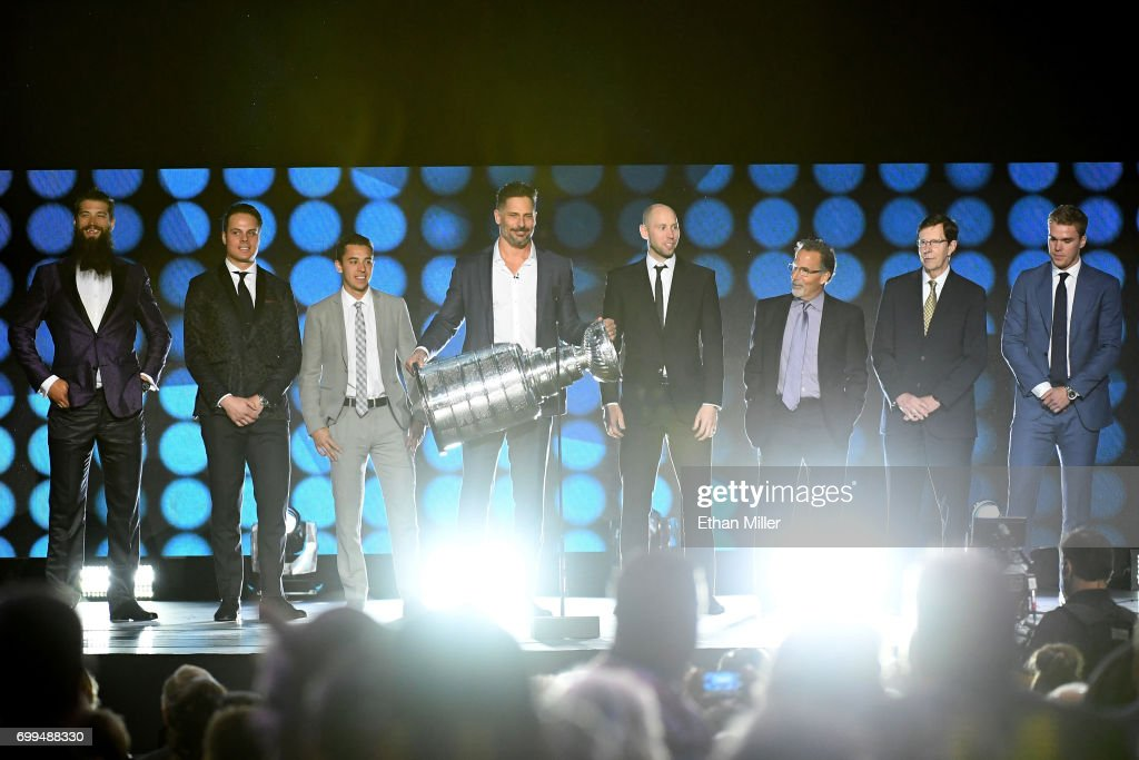 Host Joe Manganiello holds the Stanley Cup during the final moments of the show during the 2017 NHL Awards and Expansion Draft at T-Mobile Arena on June 21, 2017 in Las Vegas, Nevada.