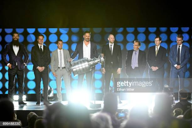 Host Joe Manganiello holds the Stanley Cup during the final moments of the show during the 2017 NHL Awards and Expansion Draft at TMobile Arena on...