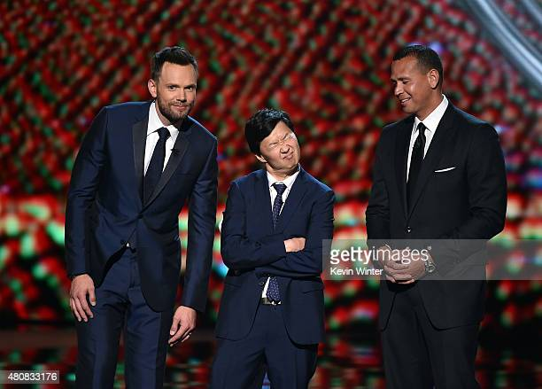 Host Joel McHale actor Ken Jeong and major league baseball player Alex Rodriguez speak onstage during The 2015 ESPYS at Microsoft Theater on July 15...