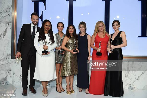 Host Joel McHale and honorees Ava DuVernay Alicia Vikander and Salma Hayek ELLE EditorinChief Robbie Myers and honorees Amy Schumer and Dakota...