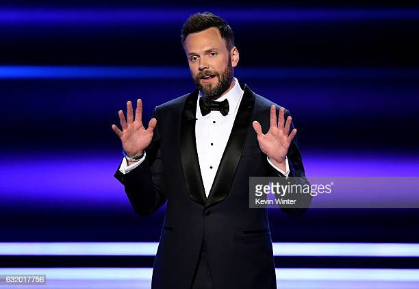 Host Joel McHale speaks onstage during the People's Choice Awards 2017 at Microsoft Theater on January 18 2017 in Los Angeles California