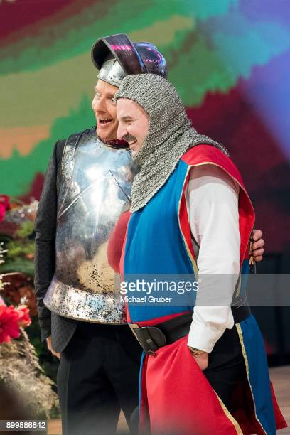 Host Joerg Pilawa and Chef Johann Lafer perform during the New Year's Eve tv show hosted by Joerg Pilawa on December 30 2017 in Graz Austria
