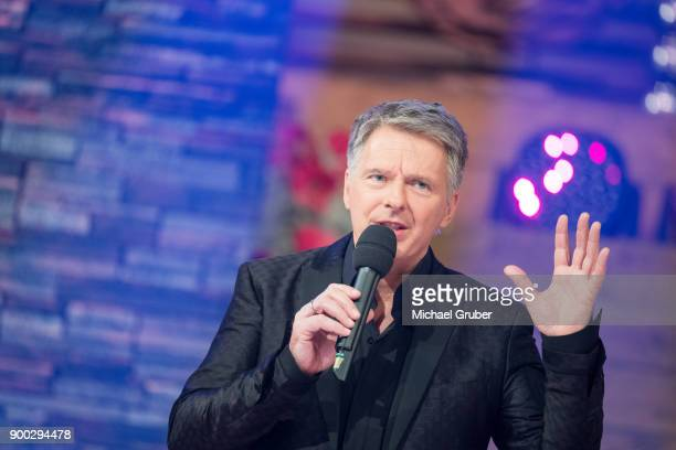 Host Joerg Pilawa performs during the New Year's Eve tv show hosted by Joerg Pilawa on December 30 2017 in Graz Austria