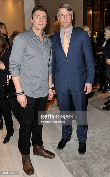 Host Joffrey Lupul and Michael Burns of True Patriot Love Foundation attend the David Yurman Toronto Grand Opening event on January 16 2014 in...