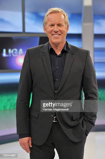 TV host Johannes B Kerner poses during the LIGA total TV show on August 6 2011 in Ismaning near Munich Germany