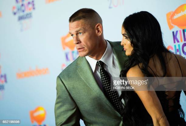 Host John Cena and Nikki Bella arrive for the 30th Annual Nickelodeon Kids' Choice Awards March 11 2017 at the Galen Center on the University of...