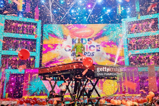 Host John Cena on stage at Nickelodeon's 2017 Kids' Choice Awards at USC Galen Center on March 11 2017 in Los Angeles California