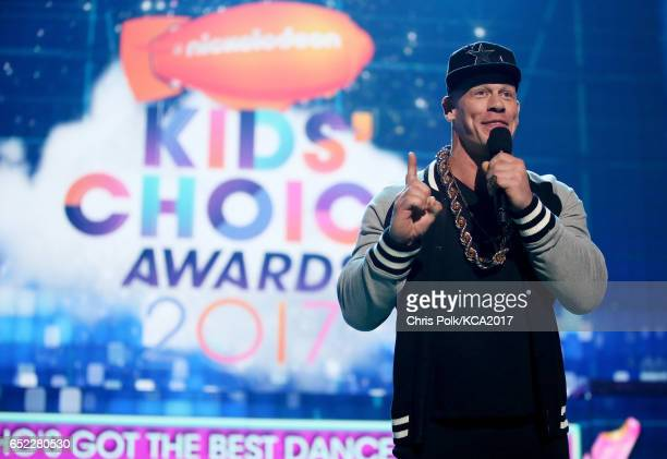 Host John Cena speaks onstage at Nickelodeon's 2017 Kids' Choice Awards at USC Galen Center on March 11 2017 in Los Angeles California