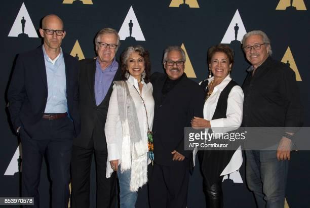 Host John Horn producer Peter Burell actress Rose Portillo director/writer Luis Valdez actors Alma Martinez and Edward James Olmos attend the 35mm...