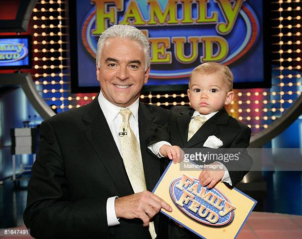 Host John O'Hurley and his 18 month old son William on the set of Family Feud on June 20, 2008 at KTLA in Los Angeles, California.