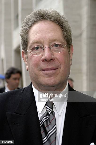 Host John Sterling poses outside before MODA Entertainment's Tribute Screening Of 'Pride Of The Yankees' at Lincoln Center on June 28 2004 in New...