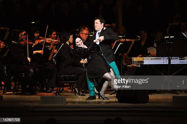 Host John Tartaglia and actress Stephanie D'Abruzzo perform during The New York Pops Present 'Jim Henson's Musical World' at Carnegie Hall on April...