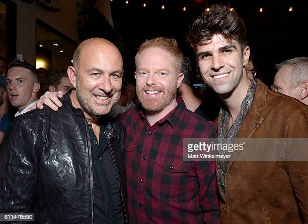 Host John Varvatos actor Jesse Tyler Ferguson and cohost Justin Mikita attend John Varvatos OUT Support the Gay Men's Chorus of LA on September 29...