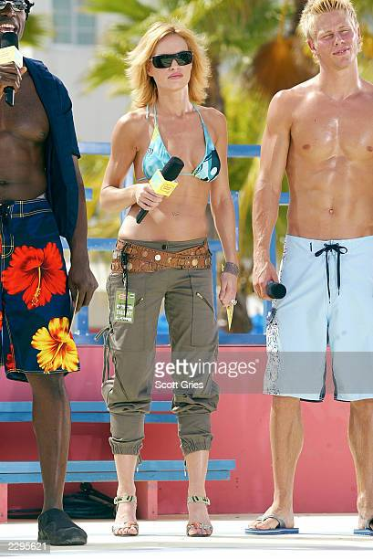 Host Jolene Blalock appears on stage during a taping for MTV Spring Break 2003 at the Surfcomber Hotel March 14 2003 in Miami Beach Florida