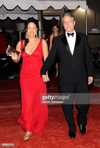 TV host Jon Stewart and wife Tracy McShane backstage at the 61st Primetime Emmy Awards held at the Nokia Theatre on September 20 2009 in Los Angeles...