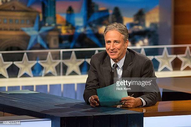 Host Jon Stewart at The Daily Show with Jon Stewart covers the Midterm elections in Austin with Democalypse 2014 South By South Mess at ZACH Theatre...