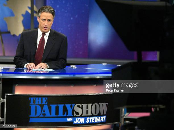 Host Jon Stewart is seen on Comedy Centrals The Daily Show August 9 2004 in New York City