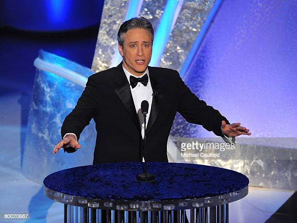Host Jon Stewart onstage during the 80th Annual Academy Awards at the Kodak Theatre on February 24 2008 in Los Angeles California
