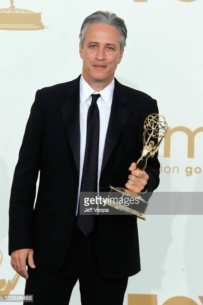 TV host Jon Stewart poses in press room during the 63rd Primetime Emmy Awards at the Nokia Theatre LA Live on September 18 2011 in Los Angeles United...