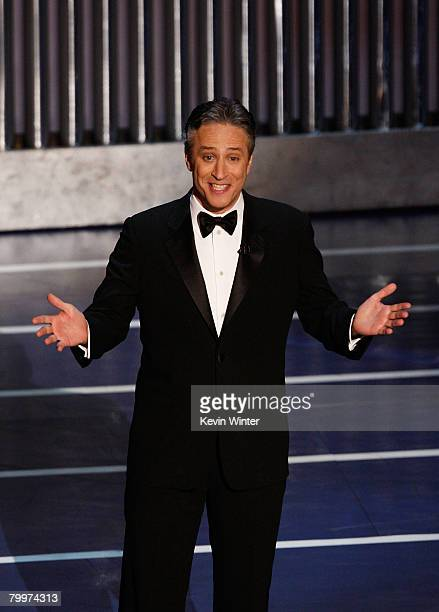 TELECAST*** Host Jon Stewart speaks during the 80th Annual Academy Awards held at the Kodak Theatre on February 24 2008 in Hollywood California