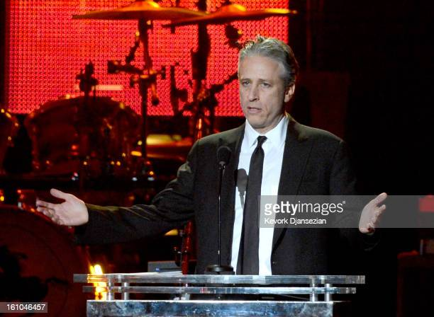 Host Jon Stewart speaks onstage at The 2013 MusiCares Person Of The Year Gala Honoring Bruce Springsteen at Los Angeles Convention Center on February...