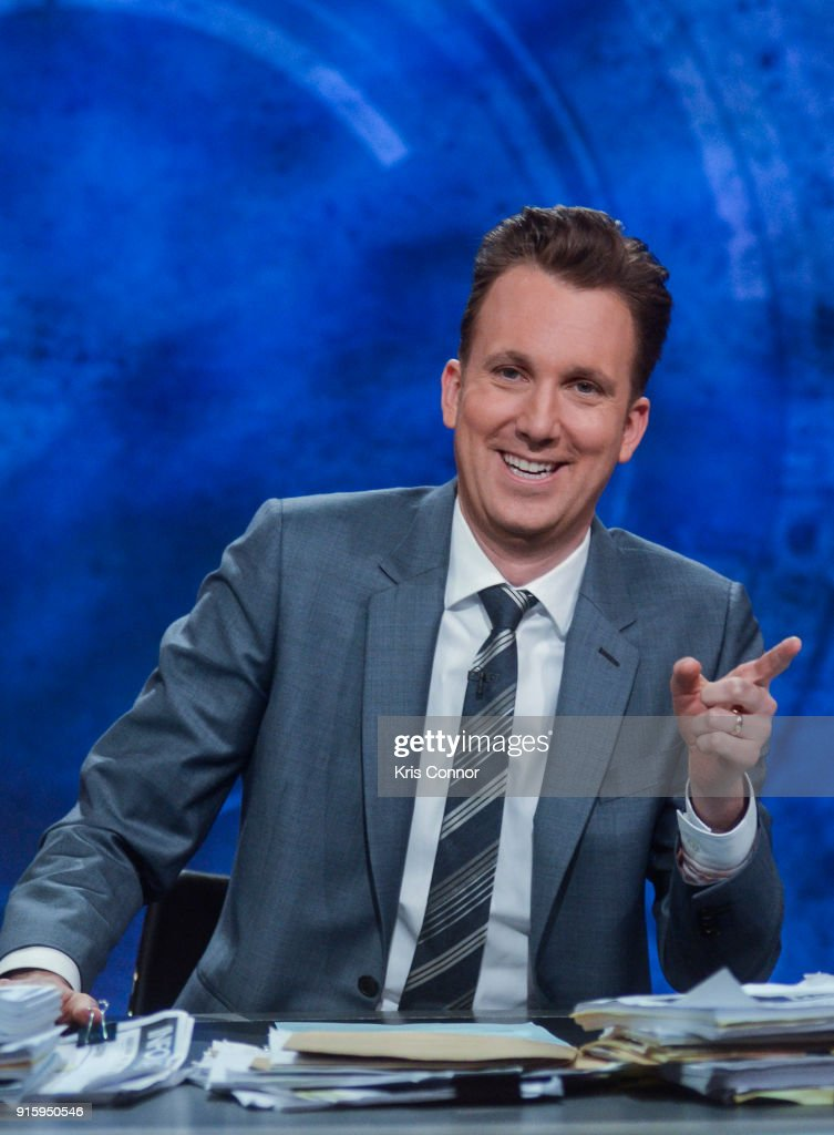 Host Jordan Klepper during a taping of Comedy Central's 'The Opposition w/ Jordan Klepper' at Hotel Pennsylvania on February 8, 2018 in New York City.