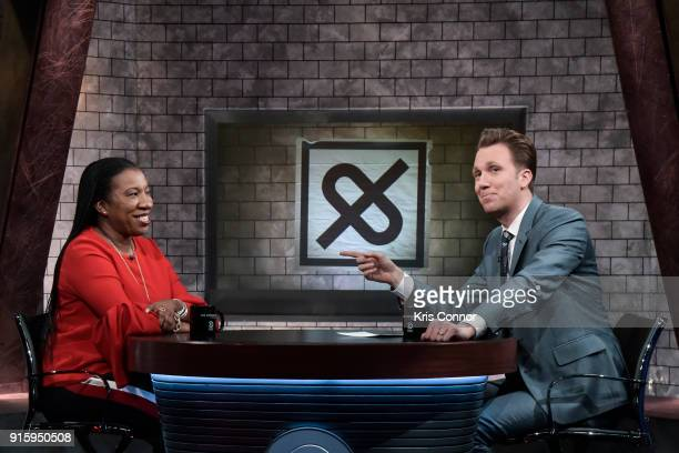 Host Jordan Klepper interviews Tarana Burke activist and founder of #MeToo during a taping of Comedy Central's 'The Opposition w/ Jordan Klepper' at...