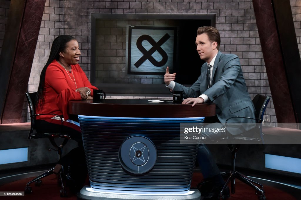 Host Jordan Klepper (R) interviews Tarana Burke, activist and founder of #MeToo, during a taping of Comedy Central's 'The Opposition w/ Jordan Klepper' at Hotel Pennsylvania on February 8, 2018 in New York City.